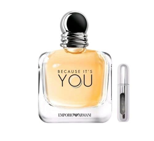 REFILLABLE PERFUME TRAVEL SPRAY WITH FREE 5ML ARMANI BECAUSE IT'S YOU EDP