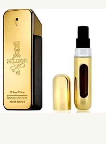 REFILLABLE PERFUME TRAVEL SPRAY WITH FREE 5ML PACO RABANNE 1 MILLION FOR MEN EDT