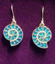 Ammonite Pewter and Blue Enamel Earrings