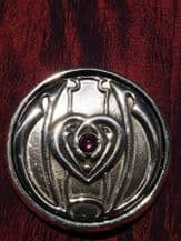 Art Nouveau Heart with Pink Glass Stone Purse Mirror