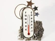 Artisan Pewter Moon and Owl Room Thermometer