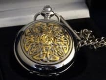 Celtic Knot Two Tone Pocket Watch and Chain