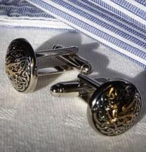 Gilt Dragon on a Celtic Background Pewter Cuff Links