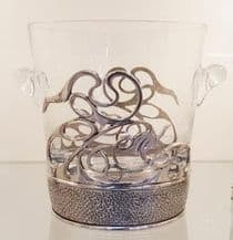 Glass Ice Bucket in a Pewter Holder