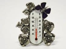 Pewter Butterfly Room Thermometer