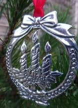 Pewter Christmas Candles Hanging Decoration