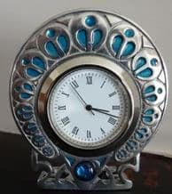 Pewter Peacock Clock with Turquoise Enamelling and Glass