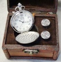 Pewter Pocket Watch and Cufflink Set in a handmade wooden trunk.