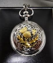 Pewter Pocket Watch with a Gilt Thistle Celtic Design