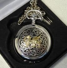 Pewter Pocket Watch with Gilt Dragon and Celtic Design