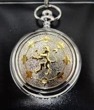 Pewter Pocket Watch with Gilt Lion Rampant