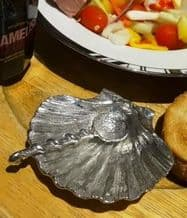 Pewter Scallop Shaped Bowl and Serving Spoon