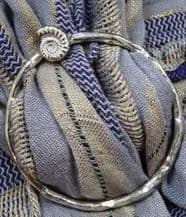 Pewter Scarf Slide with Ammonite Detailing