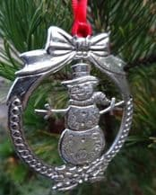 Pewter Spinning  Snowman Hanging Christmas Decoration