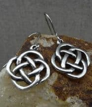 Pewter Square Knot Drop Ear Rings