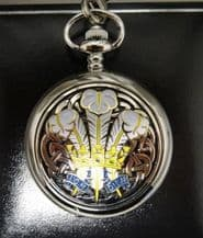 Prince of Wales Feathers Pewter Pocket Watch