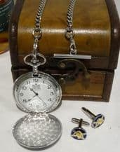 Saltire Pocket Watch and Cuff Link Trunk Gift Set