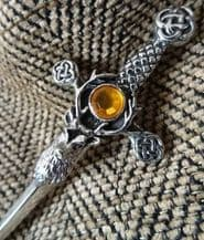Stags Head with Yellow Glass Stone Kilt Pin