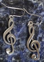 Treble Clef Pewter Ear Rings