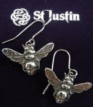 Winged Bee Pewter Drop Ear Rings