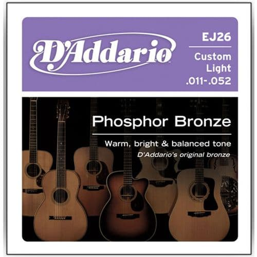 D'Addario EJ26 Custom Light Phosphor Bronze Acoustic 11-52