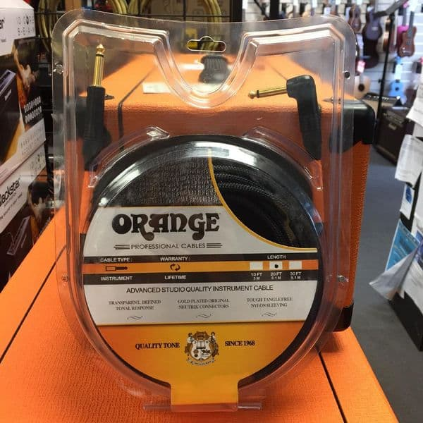 Orange Advanced Studio Quality Instrument Cable 20ft, Straight To Angled End, Black