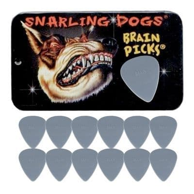 Snarling Dogs Brain Picks Set 1.00mm Grey HEAVY (12 Plectrums) Supplied in Tin