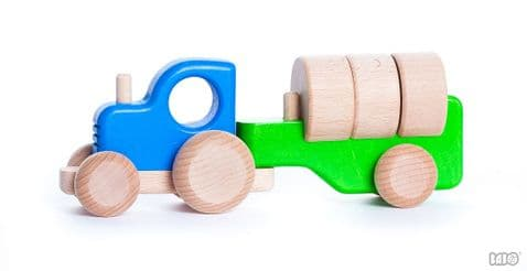 Bajo, Tractor with Blocks, Blue