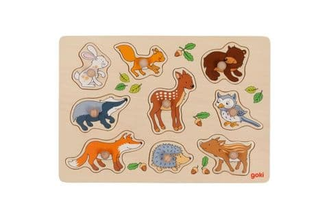 Goki, Lift Out Puzzle, Forest Animals