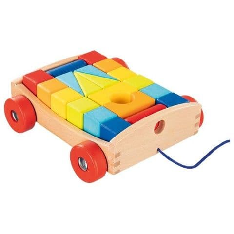 Goki, Pull-along cart with 20 building blocks
