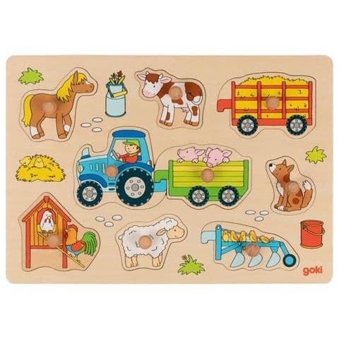 Goki, Tractor with Trailers Lift-out Puzzle