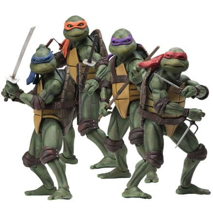 "NECA Teenage Mutant Ninja Turtles 1990 Movie 7"" Scale Action Figure - Set of 4"