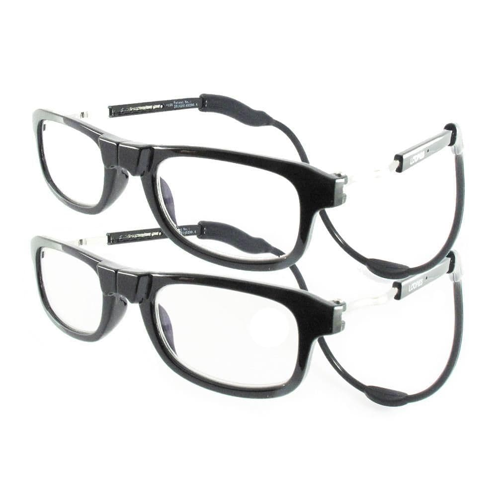 Loopies Black Twin Pack Magnetic Reading Glasses