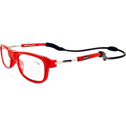 Loopies Red Photochromic Magnetic Reading Glasses
