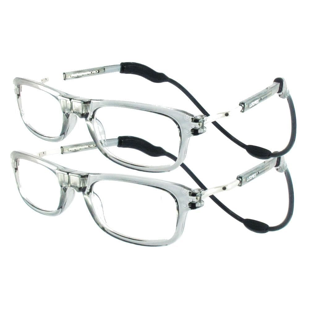 Loopies Transparent Grey Twin Pack Magnetic Reading Glasses