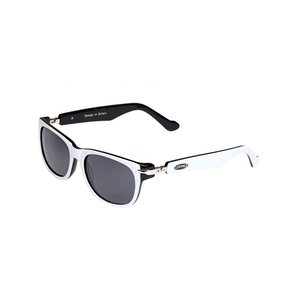 Loopies Wayfarer Polarised Folding Sunglasses in White and Black