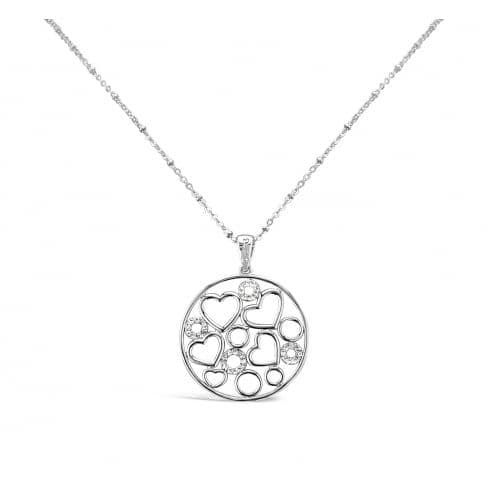 Rhodium Plated Heart and Crystal Fillergree Necklace