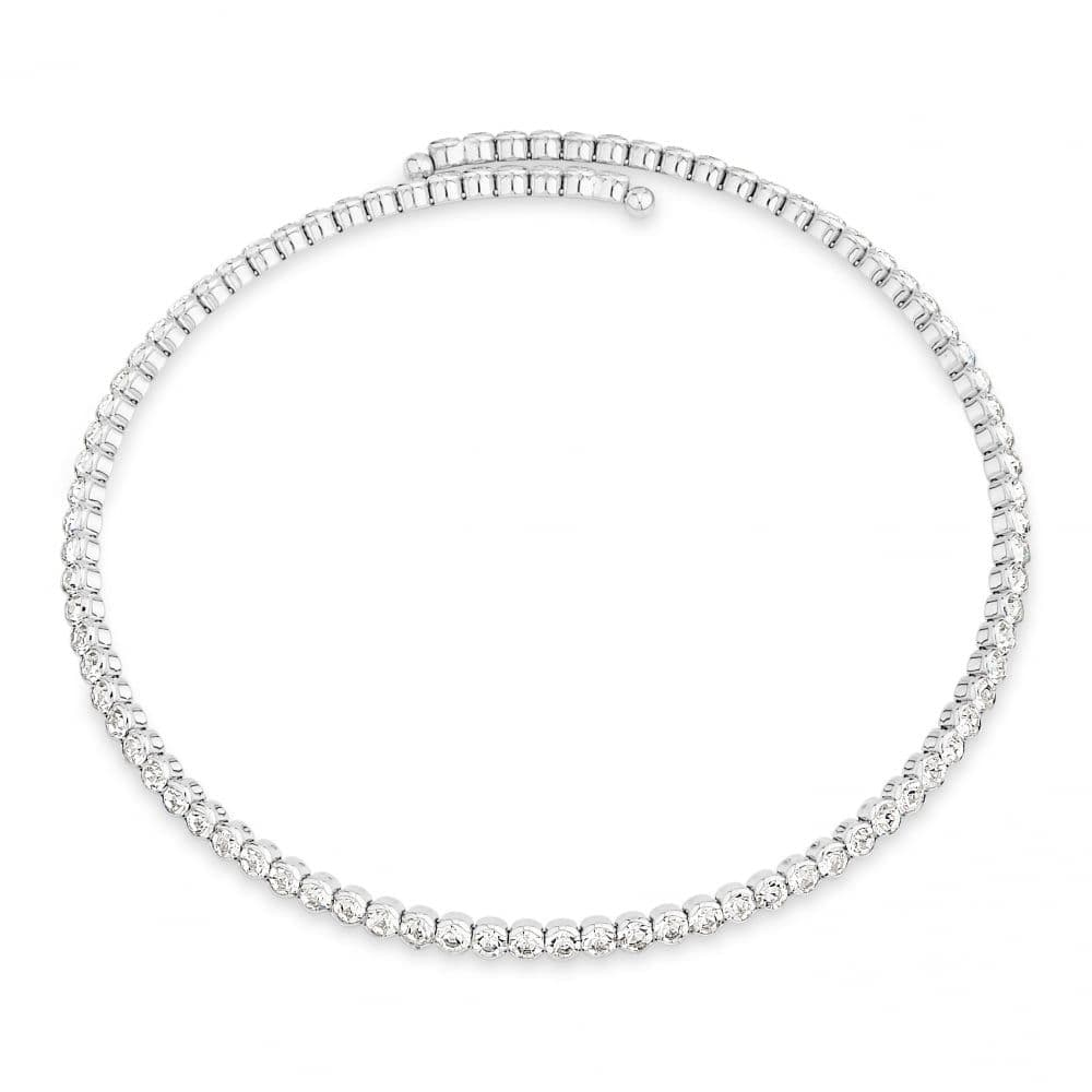 Stunning Rhodium Plated with Crystals Expandable Collar Necklace