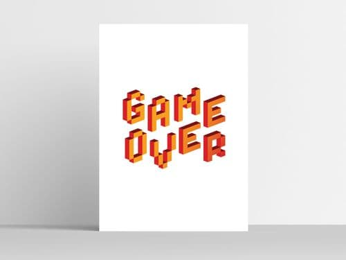 Game Over Pixel Print White