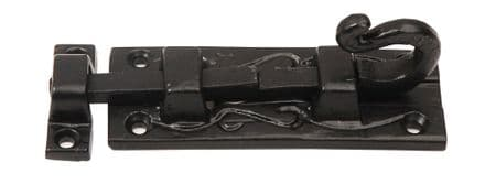 Excel Hardware 1075-PREM  Curly Slide Bolt 100mm Black Antique