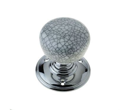 Frelan Hardware JC40PCGY Porcelain Mortice Knob Set Crackle Grey/Polished Chrome