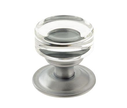 Frelan Hardware JH1171SC Moderno Glass Mortice Knob Set Glass/Satin Chrome