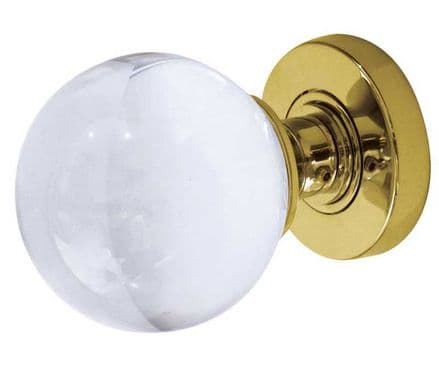 Frelan Hardware JH5201PB Glass Mortice Knob Set Glass/Polished Brass