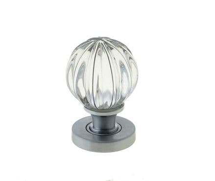 Frelan Hardware JH5202SC Pumpkin Glass Mortice Knob Set Glass/Satin Chrome