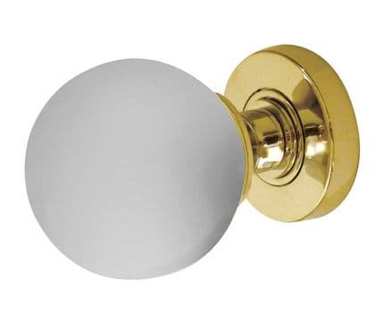 Frelan Hardware JH5204PB Frosted Glass Mortice Knob Set Glass/Polished Brass