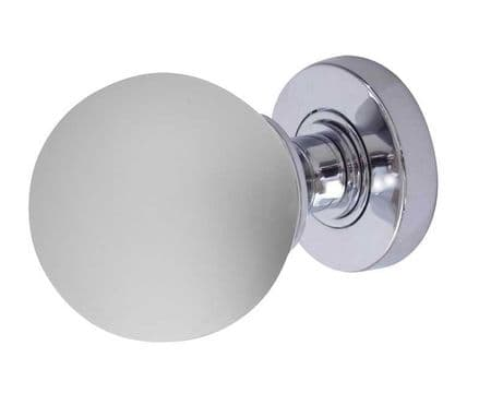 Frelan Hardware JH5204PC Frosted Glass Mortice Knob Set Glass/Polished Chrome