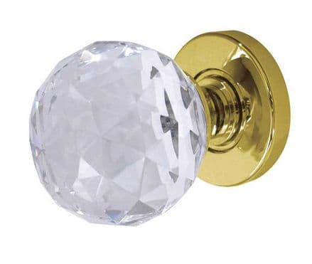 Frelan Hardware JH5255PB Faceted Glass Mortice Knob Set Glass/Polished Brass