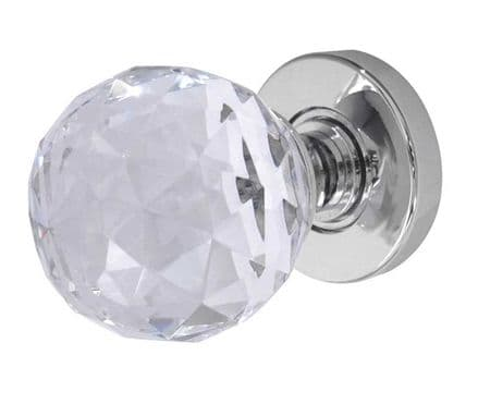 Frelan Hardware JH5255PC Faceted Glass Mortice Knob Set Glass/Polished Chrome