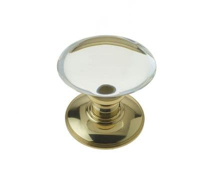 Frelan Hardware JH6000PB Oval Glass Mortice Knob Set Glass/Polished Brass