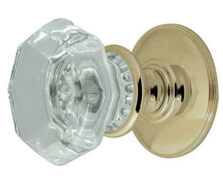 Frelan Hardware JH7020PB Flower Glass Mortice Knob Set Glass/Polished Brass